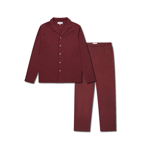 Pyjama Shirt and Trouser Set - Burgundy - Hamilton and Hare Ltd