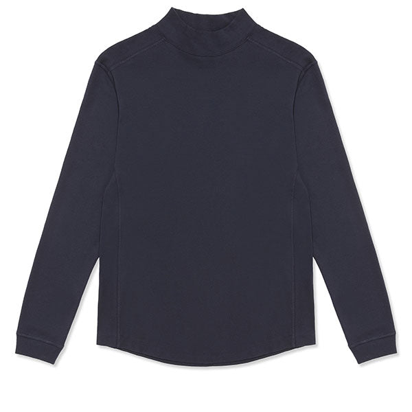 Cotton Cashmere Lounge Funnelneck Top - Navy