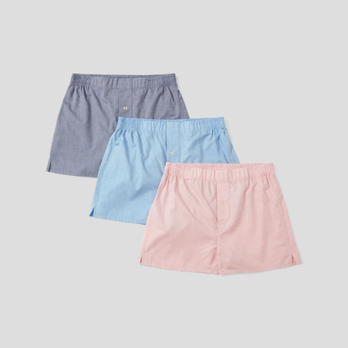 3 Pack Cotton Cashmere Boxer Shorts - Pink, Light Blue, Dark Blue