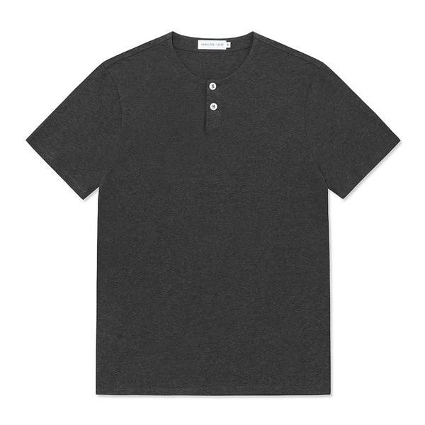 Short Sleeve Jersey Henley - Charcoal Melange - Hamilton and Hare Ltd