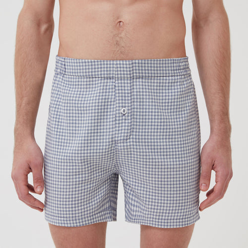 Cotton Cashmere Boxer Short Blue Check at Hamilton and Hare