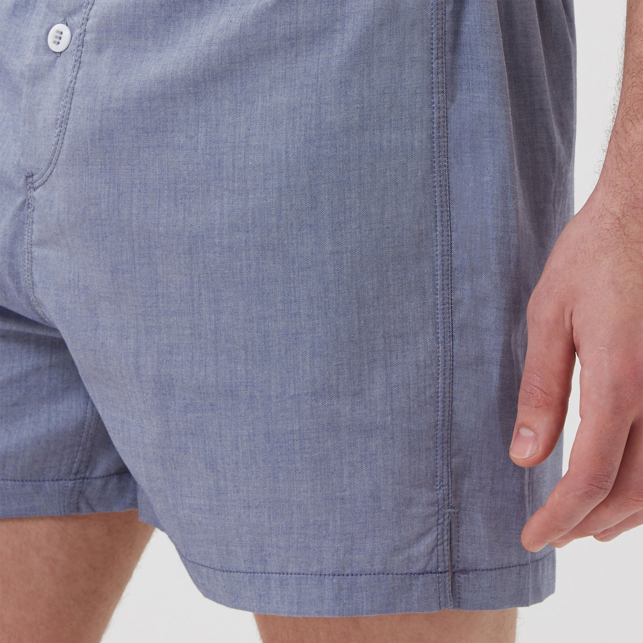 Cotton Cashmere Boxer Short Chambray Blue - Hamilton and Hare Ltd