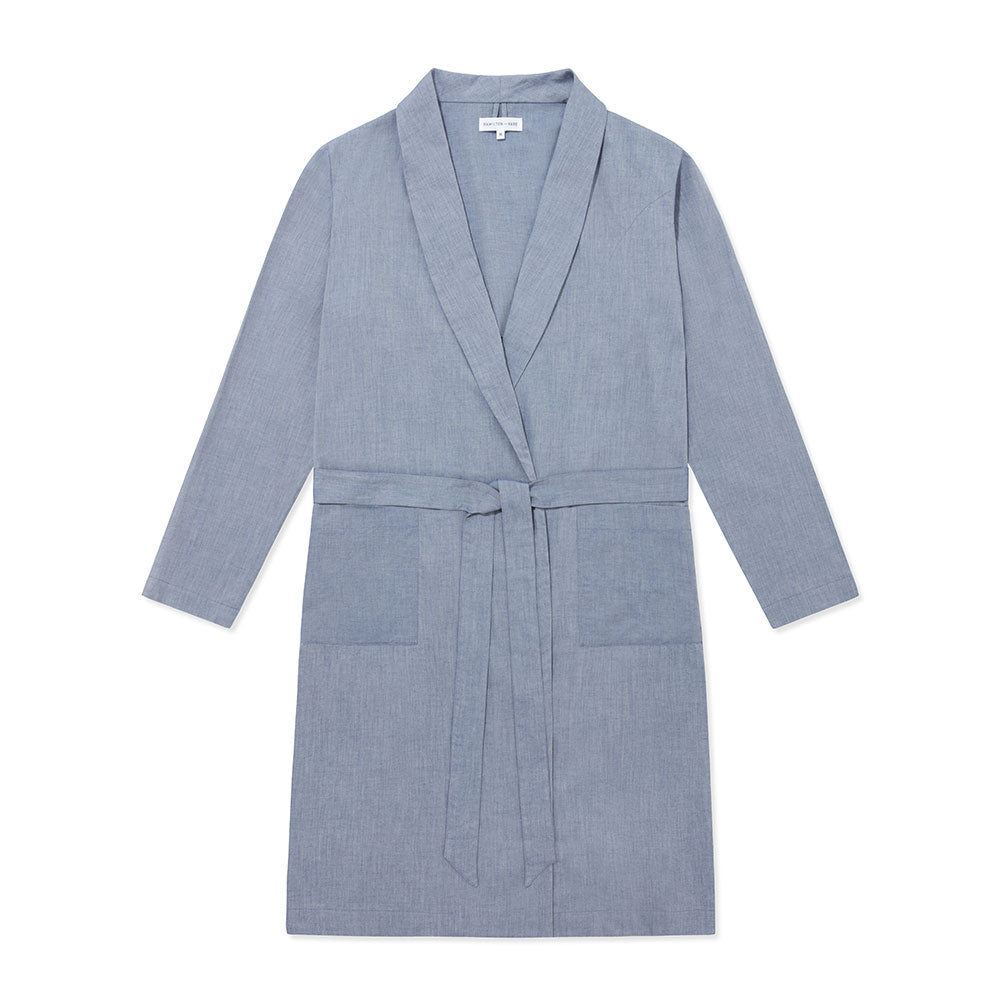 Cotton Cashmere Woven Robe - Chambray Blue - Hamilton and Hare Ltd