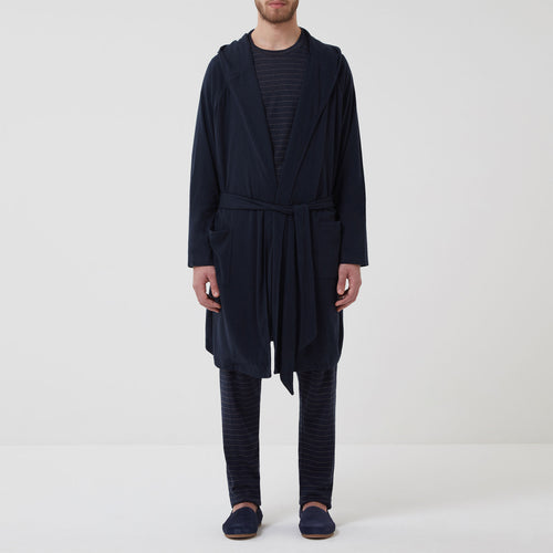 Hamilton and Hare Cotton Cashmere Lounge Robe Navy