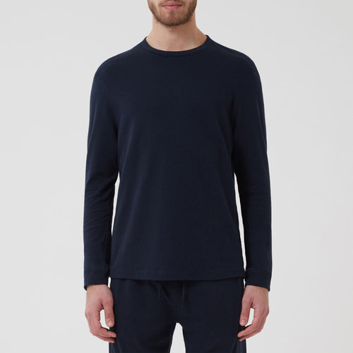 Cotton Cashmere Lounge Top Navy