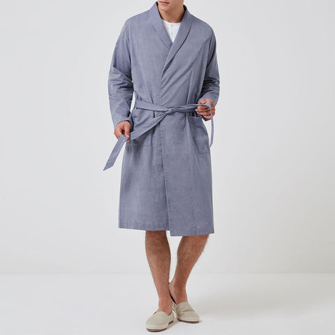 Personalised Towelling Robe - Navy Stripe