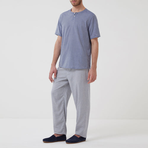 Hamilton and Hare Cotton Cashmere Sleep Trouser Blue Check