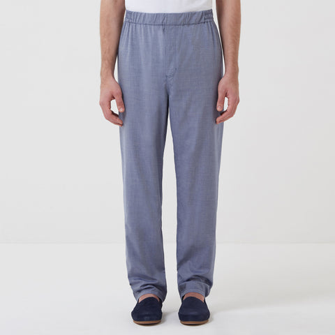 Cotton Cashmere Blend Sleep Shirt & Trouser Set - Chambray Blue