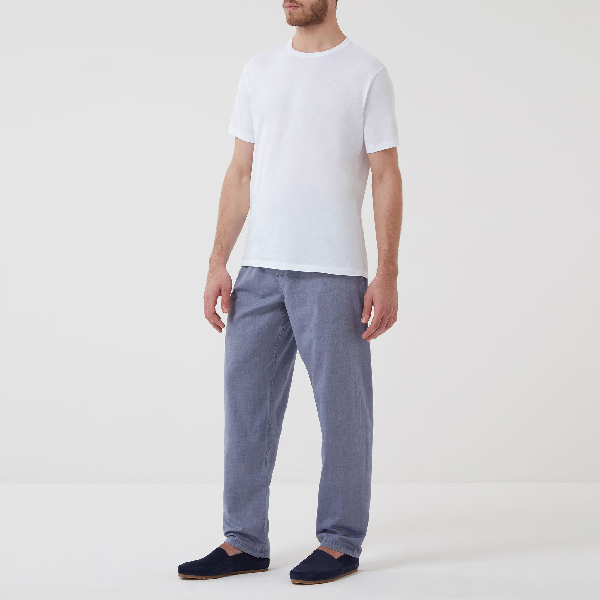 Cotton Cashmere Blend Sleep Trouser Chambray Blue - Hamilton and Hare Ltd
