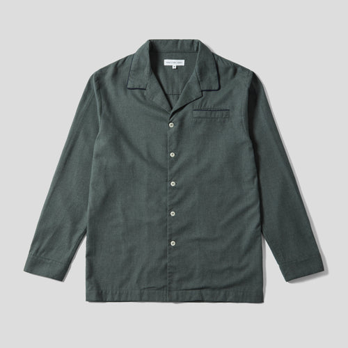 Pyjama Shirt - Green Cotton Flannel