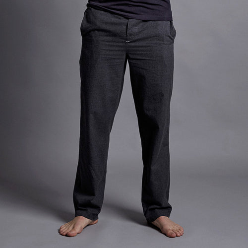 Charcoal Grey Brushed Cotton House Trouser - Men's luxury loungewear and pyjamas