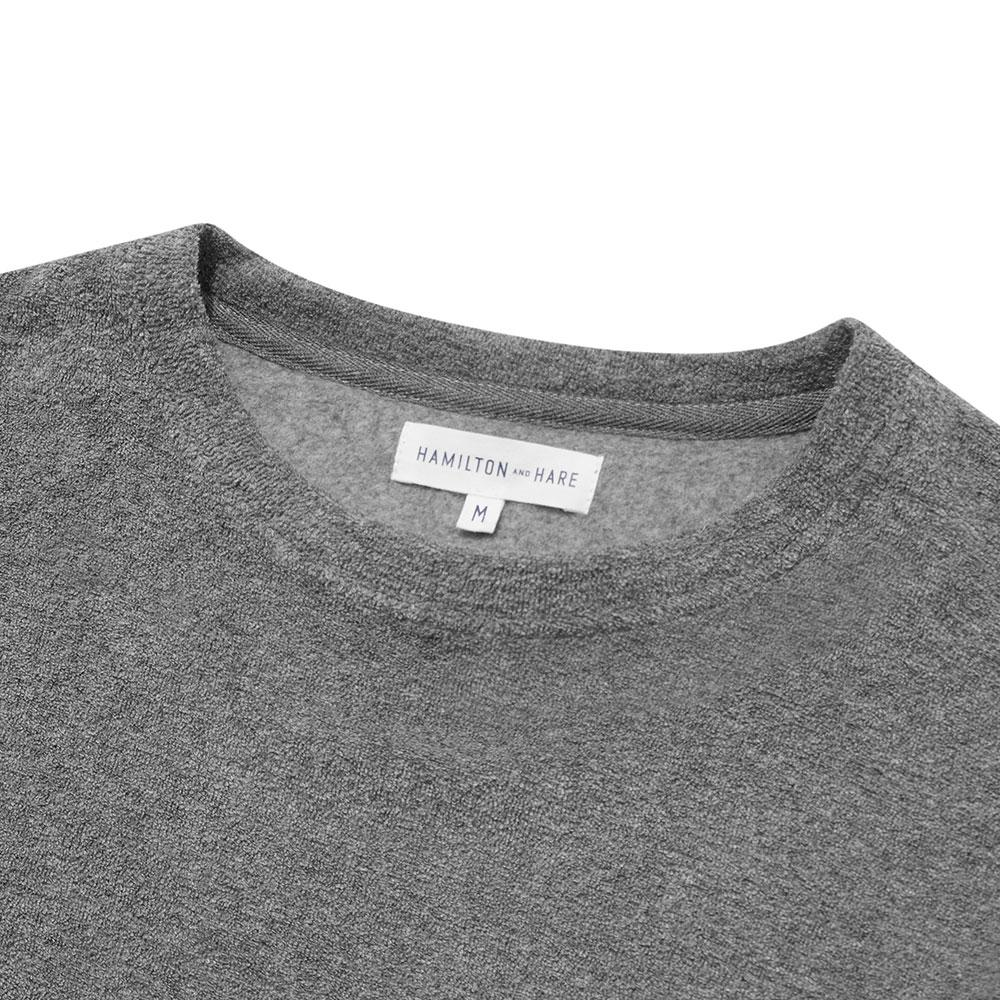 Terry Towelling Sweatshirt - Grey Melange - Hamilton and Hare Ltd