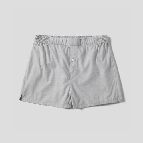 Brushed Cotton Boxer Short - Light Grey Herringbone