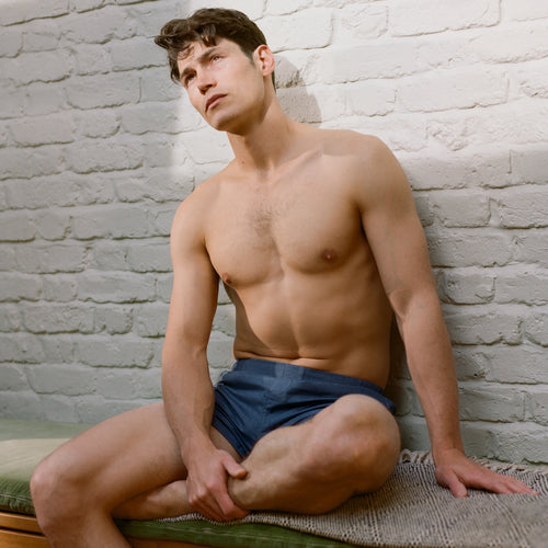 Brushed Cotton Boxer Short - Navy Herringbone