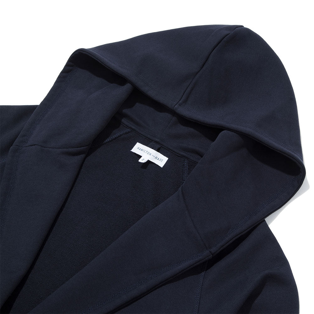 Jersey Hooded Robe - Navy
