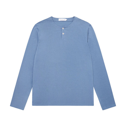 Long Sleeve Henley - Mineral Blue