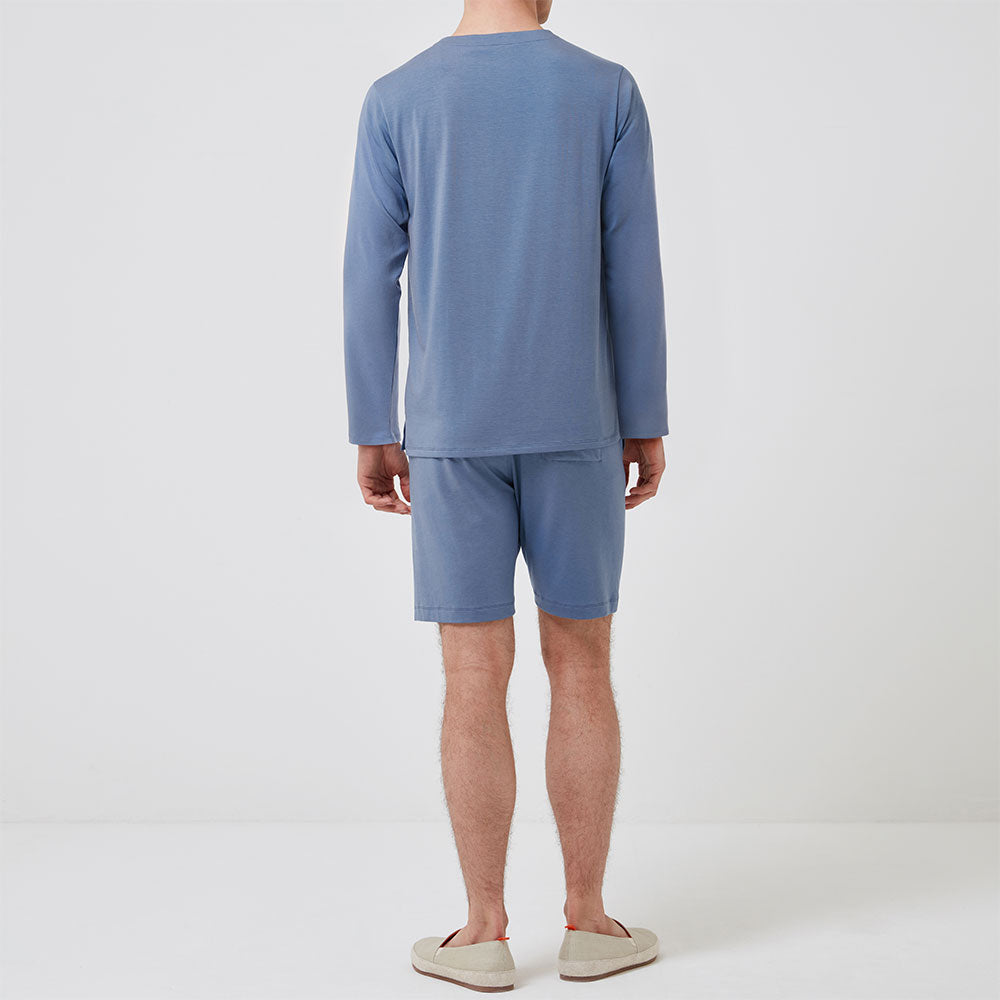 Long Sleeve Henley - Mineral Blue - Hamilton and Hare Ltd