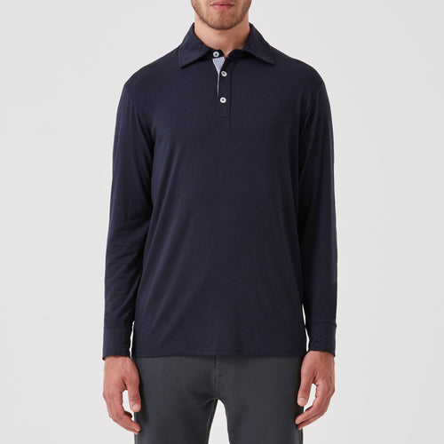 Navy Long Sleeve Collar T-shirt