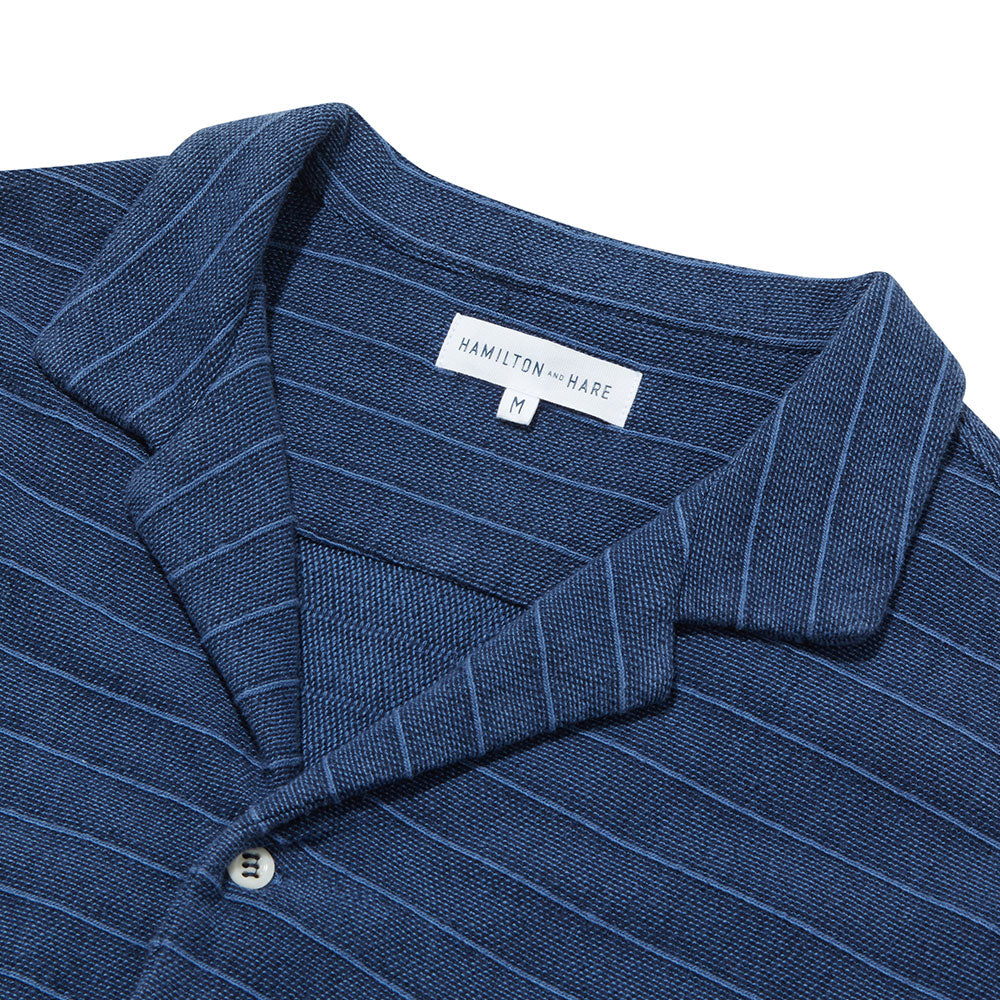 Open Collar Shirt Long Sleeve - Navy Decking Stripe - Hamilton and Hare Ltd