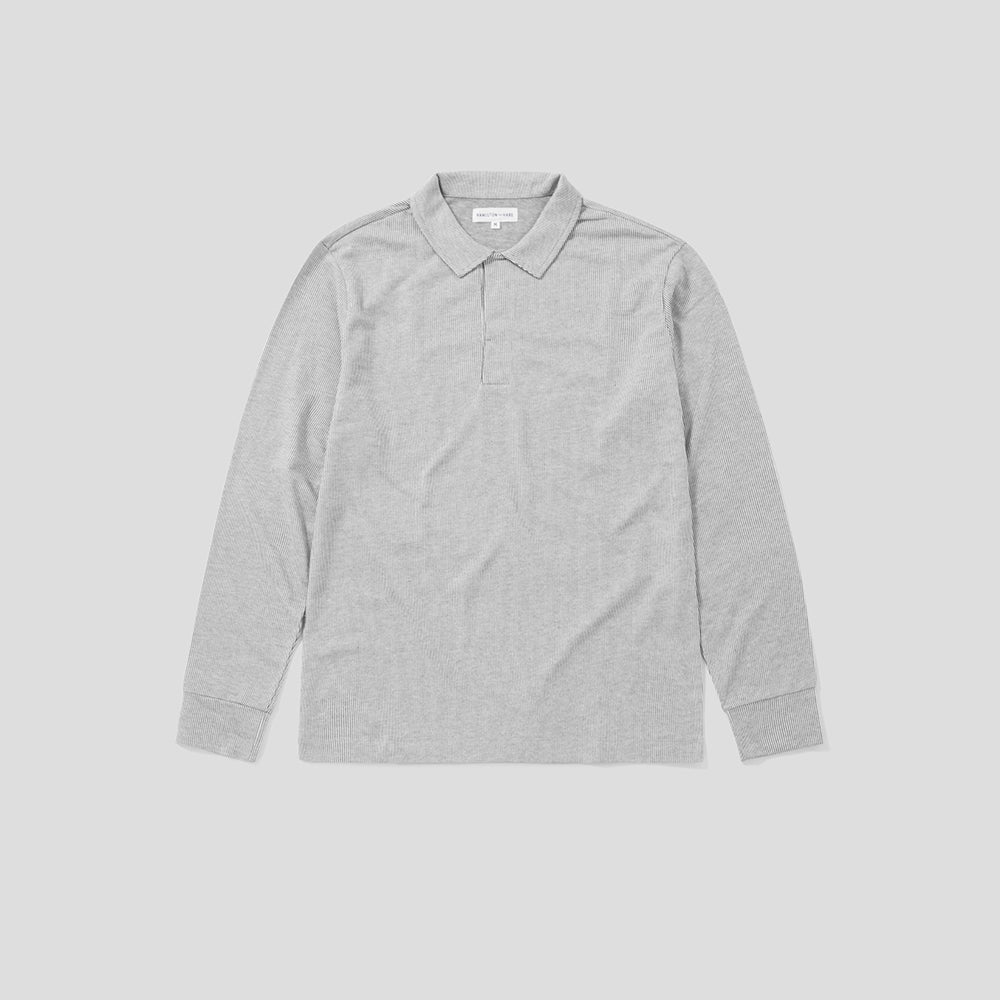 Polo Shirt Long Sleeve - Grey Stripe