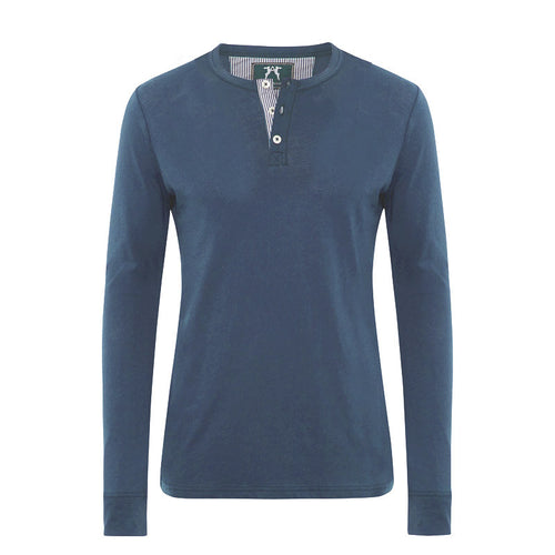 Luxury men's loungewear by Hamilton and Hare. Super soft stretch Jersey Riviera Blue Long Sleeve Henley T-shirt