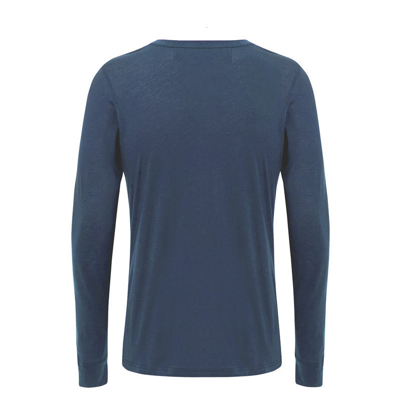 Luxury men's loungewear by Hamilton and Hare. Super soft stretch Jersey Riviera Blue Long Sleeve Henley Tee.