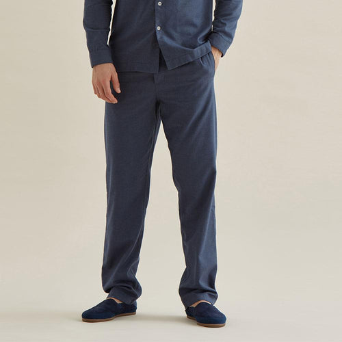 Pyjama Trouser - Navy Cotton Flannel - Hamilton and Hare Ltd