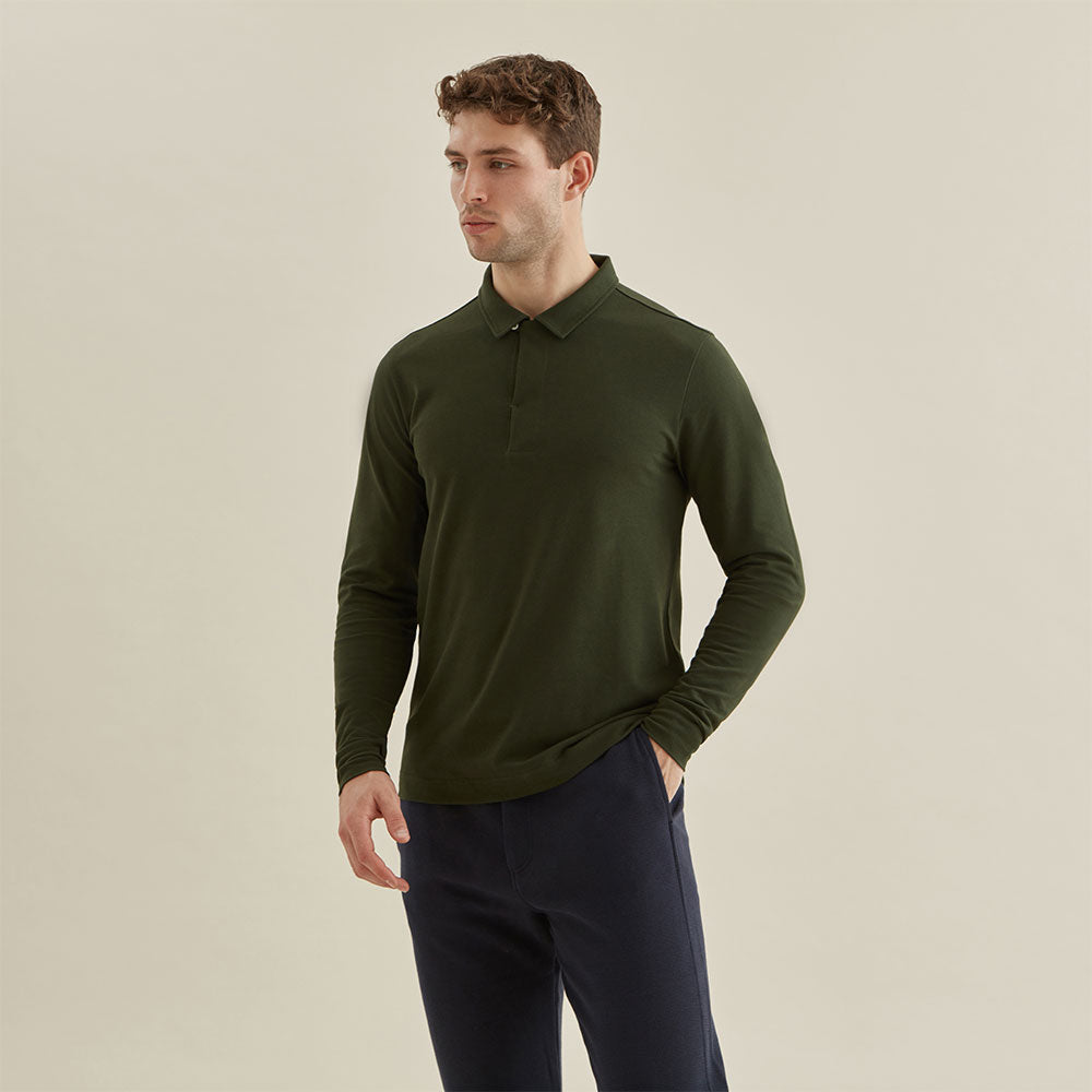Polo Shirt Long Sleeve - Olive - Hamilton and Hare Ltd