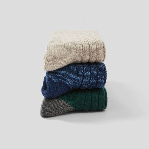 Luxe Lounge Sock 3 Pack - Oat, Dark Blue, Dark Green