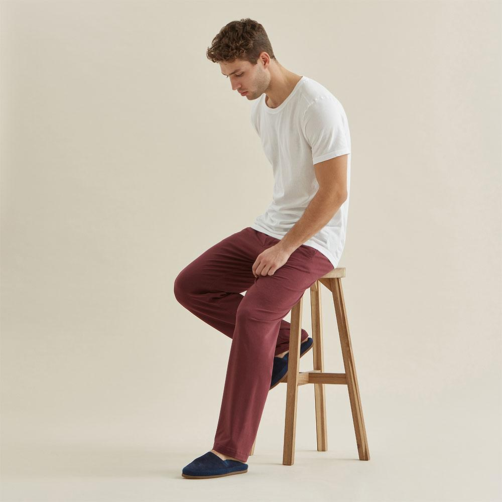 Jersey Sleep Trouser - Burgundy - Hamilton and Hare Ltd