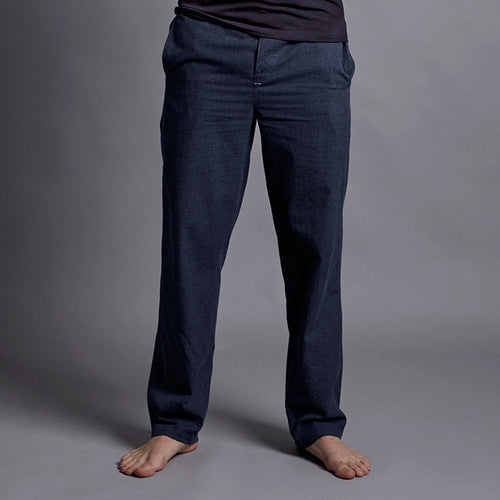 Midnight Blue Brushed Cotton House Trouser - Men's Luxury Loungewear and Pyjamas