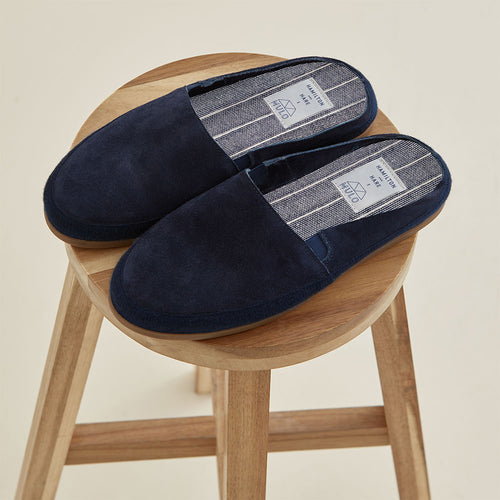 Mulo x Hamilton and Hare Suede Slipper - Navy - Hamilton and Hare Ltd