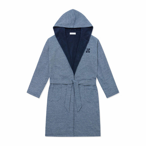 Personalised Towelling Robe - Navy Stripe - Hamilton and Hare Ltd