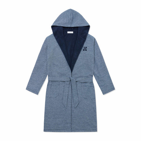 Towelling Robe - Navy Stripe