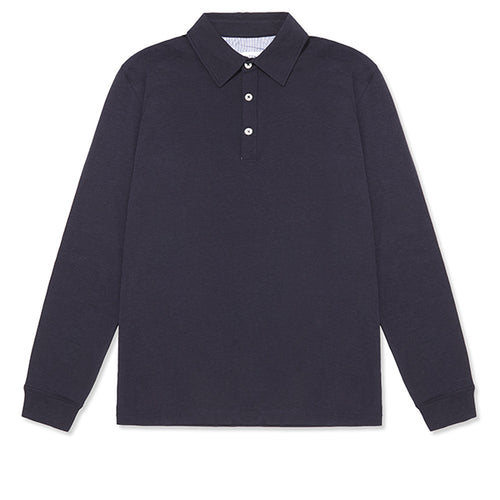 Navy long sleeve collar T-shiry by Hamilton and Hare. Luxury men's underwear and loungewear