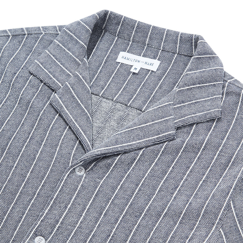 Decking Stripe Open Collar Shirt - Navy - Hamilton and Hare Ltd
