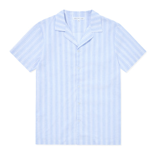 Open Collar Linen-Cotton Shirt - Blue Stripes - Hamilton and Hare Ltd