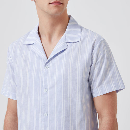 Open Collar Linen-Cotton Shirt - Blue Stripes