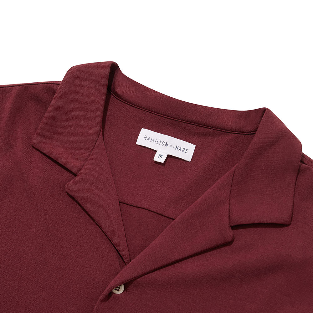 Pyjama Shirt Long Sleeve - Burgundy - Hamilton and Hare Ltd