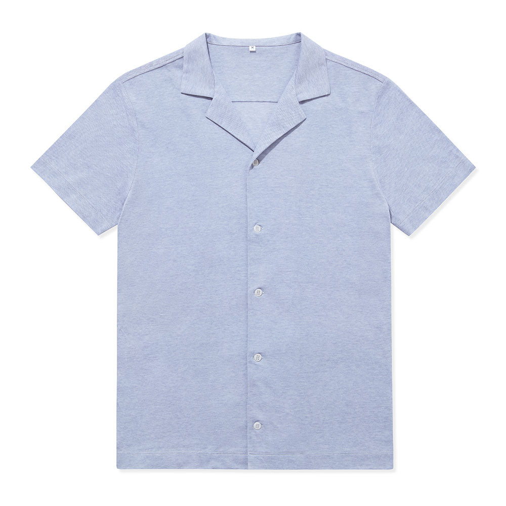 Pique Open Collar Shirt - Cloud Blue - Hamilton and Hare Ltd