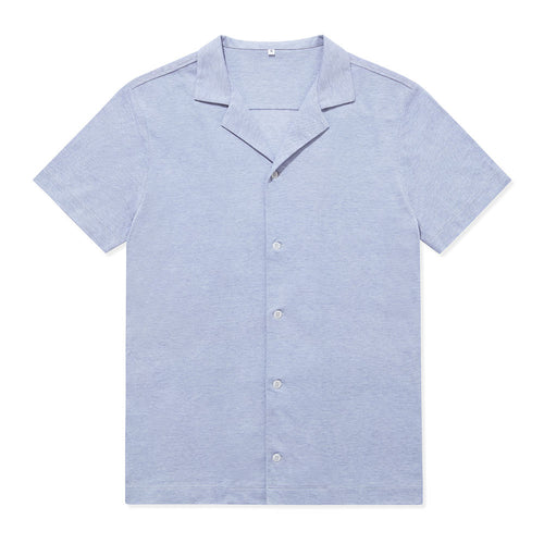 Pique Open Collar Shirt - Cloud Blue