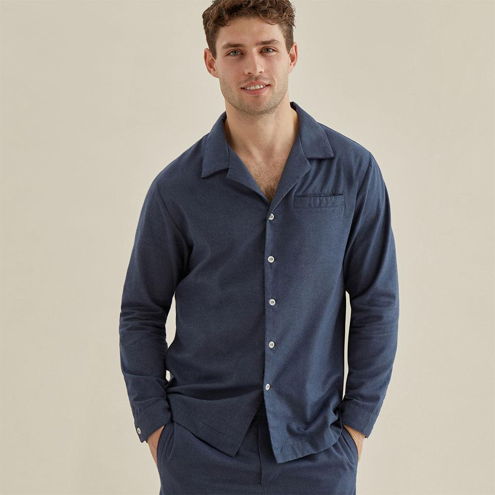 Pyjama Shirt - Navy Cotton Flannel - Hamilton and Hare Ltd