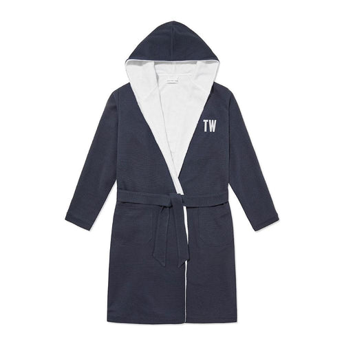 Personalised Towel-Lined Robe - Navy Waffle - Hamilton and Hare Ltd