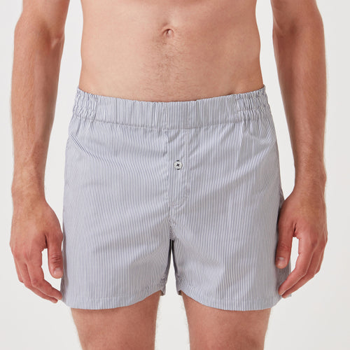 Boxer Short - Navy Pinstripe - Hamilton and Hare Ltd