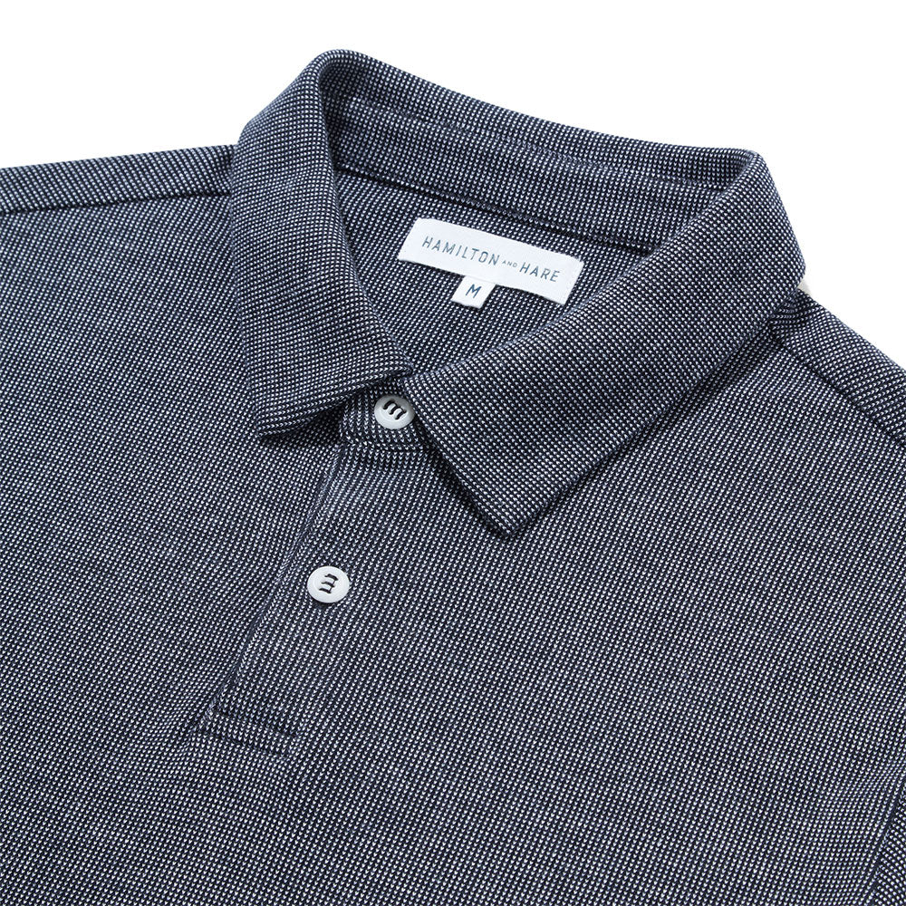 Polo Shirt - Navy White Dot - Hamilton and Hare Ltd