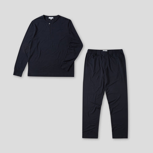Jersey Pyjama Set - Long Sleeve Top & Trouser - Navy