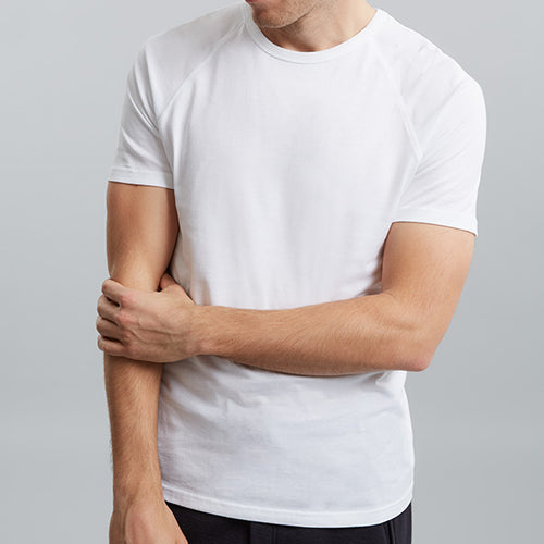 White Raglan Short Sleeve Tee