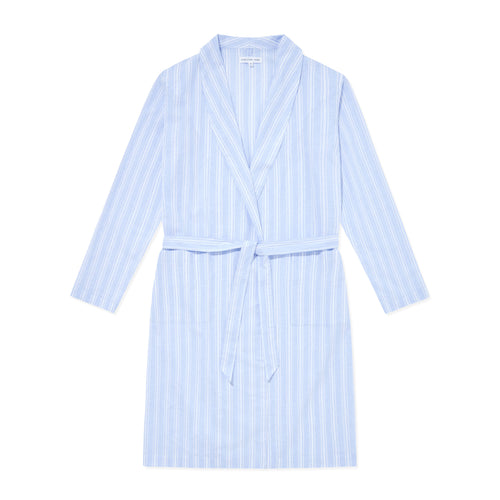 Relax Linen Cotton Robe - Blue Stripes