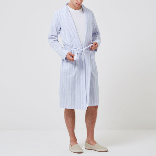 Relax Linen Cotton Robe - Blue Stripes - Hamilton and Hare Ltd