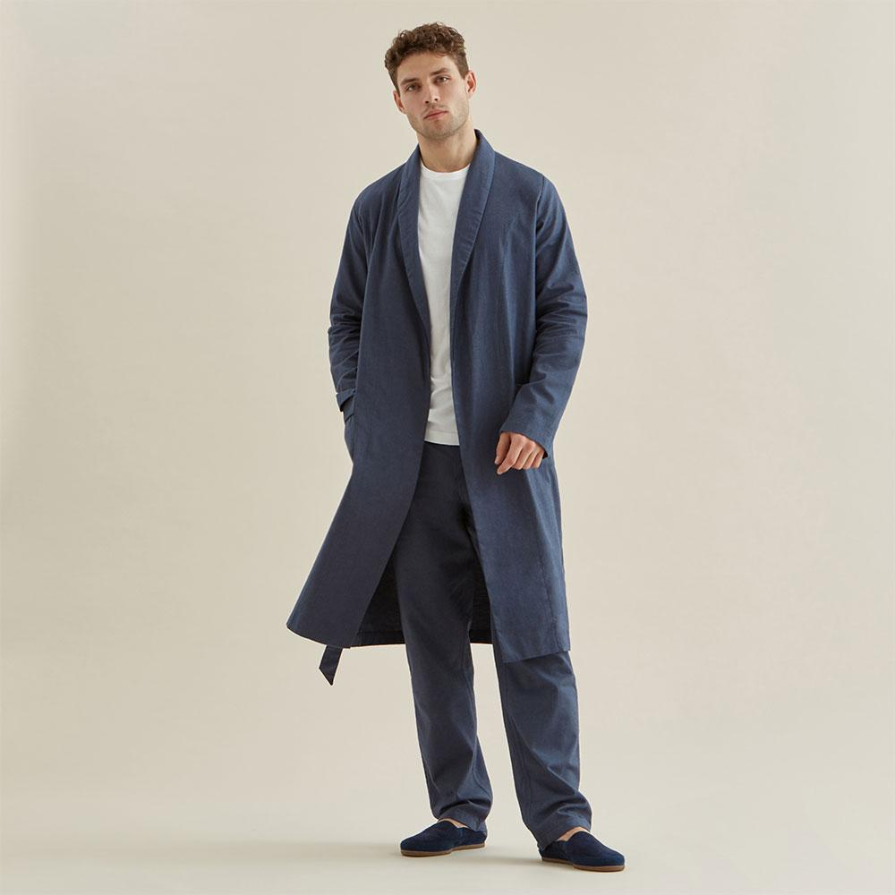 Relax Robe - Navy Flannel - Hamilton and Hare Ltd